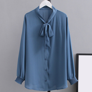 Image 3 - Summer Chiffon Blouses 2XL 5XL Casual Womens Fashion Bow Long sleeve Shirts white Loose Large size Stand Blouses women