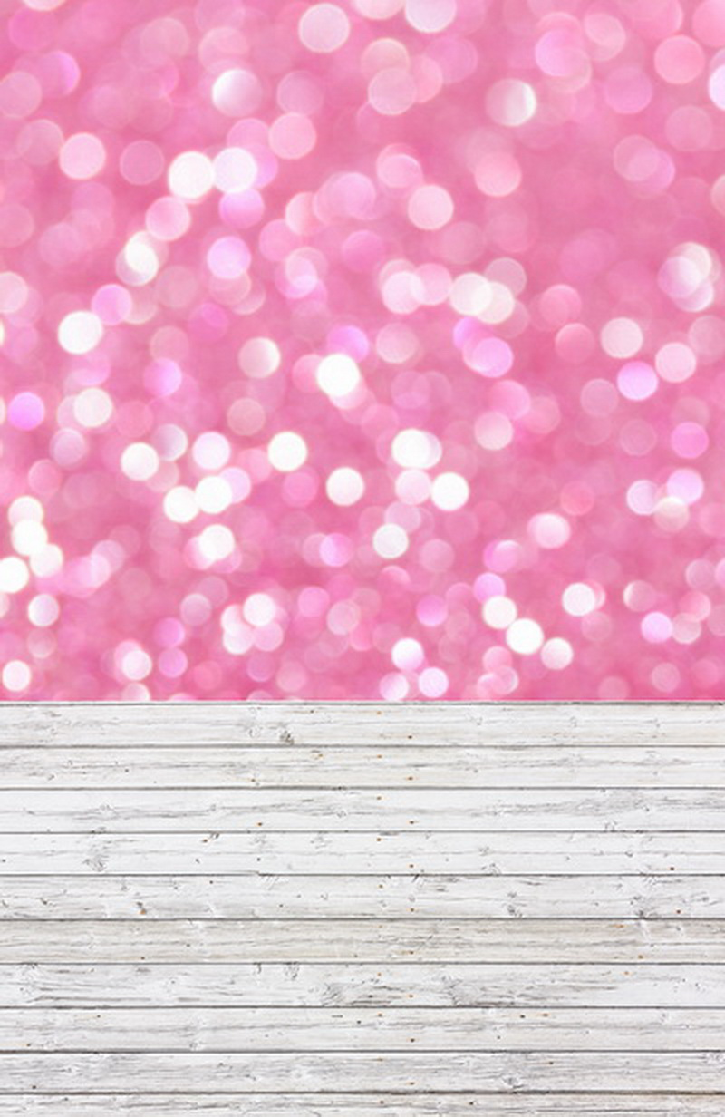 5x10ft pink bokeh and wooden floor photography newborn backdrop D 8051