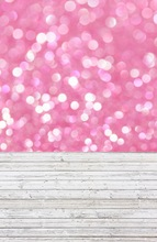 5x10ft pink bokeh and wooden floor photography newborn backdrop D-8051