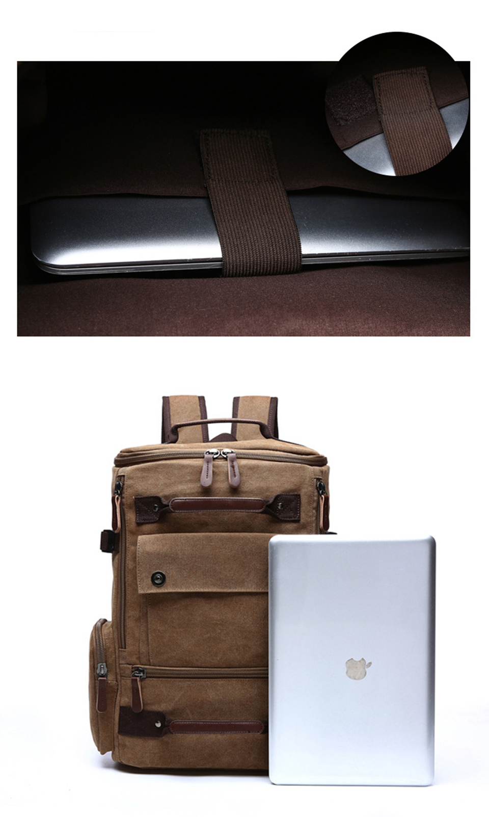 11 Canvas Backpack 15.6'' Laptop Backpacks Men Bagpack Wearproof School Bag for Teenage Male Knapsack Travel Bags Fashion Rucksack