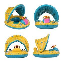 Seguro inflável do bebê piscina anel pvc bebê infantil natação flutuador ajustável pára-sol assento piscina brinquedos infláveis