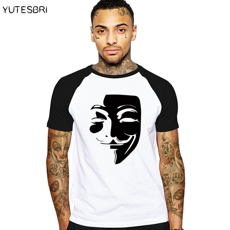 V for Vendetta T-Shirt Anonymous Guy Fawkes Mask Men Cotton T Shirts funny Casual tshirt Swag harajuku Tops Male Tees Tshirts