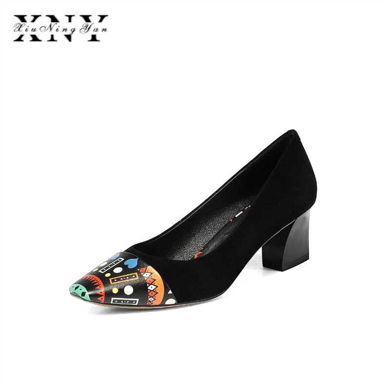 XIUNINGYAN 2019 Spring New Women Shoes Basic Style Retro Fashion High Heels Pointed Toe Office Career
