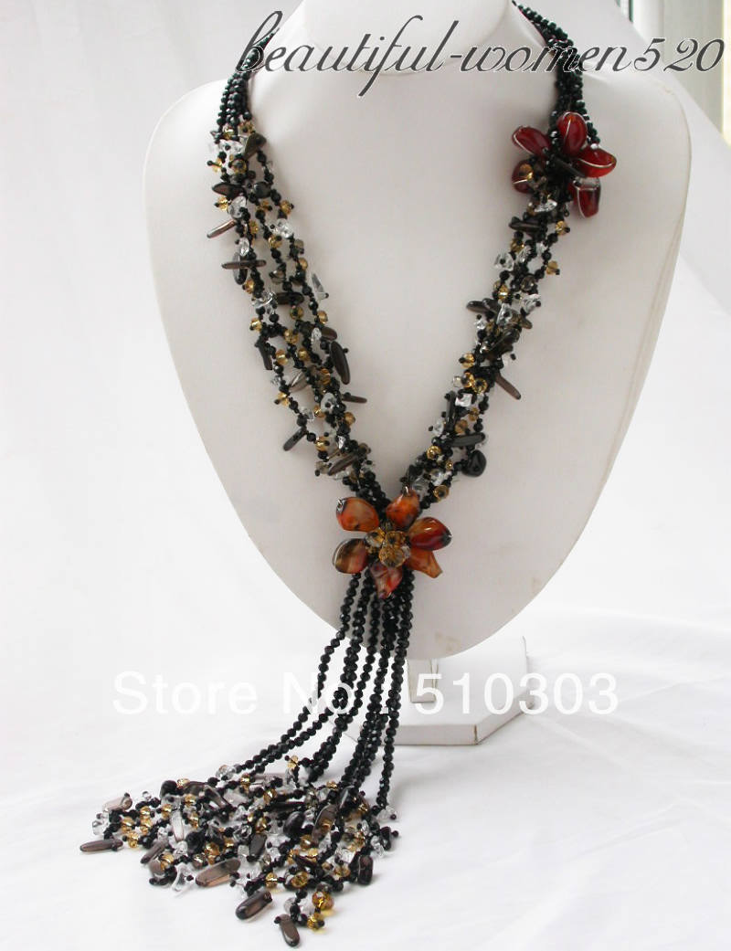 4 Strands 40 black smoke clarity crystal necklace