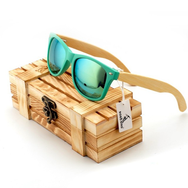 BOBO BIRD 2017 Fashion Unisex Sunglasses Handmade Colorful Polariezed Lens Nature Bamboo Legs Men's Sun Glasses With Wooden Box