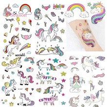 8Season 1set Unicorn Tattoo Sticker Kids Favors Temporary Balloons Birthday Party Supplie