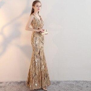 Image 4 - ヴィンテージ V ネックイブニングドレス床の長さのイブニングパーティードレスシルバースパンコールマーメイドスタイルフロントスプリットイブニングドレス