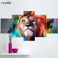 3or5 Pieces Frameless Canvas Printing Animal Pictures High Quality Great Art Colorful Lion Pictures Modern Home
