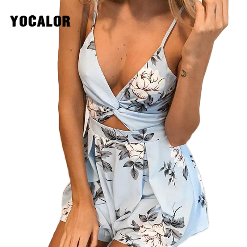 2018 Deep V Neck Bow Backless Printing Rompers Womens Jumpsuit Romper Onesie Sexy Bodysuit Women Shorts Catsuit Combi Romper