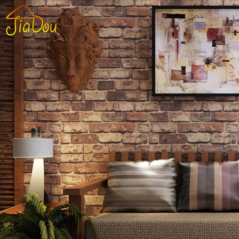 Brick stone wall paper chinese rustic vintage 3d pvc for 3d stone wallpaper for walls