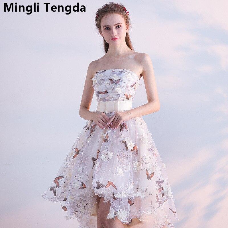 Mingli Tengda Strapless Vintage   Bridesmaid     Dresses   Short Lace Flowers Elegant   Bridesmaid   Dresse Off the Shoulder Sexy   Dress   2018