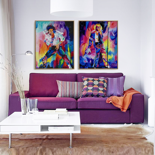2PCS Frameless Movie Star Michael Jackson Canvas Painting Home Decor  Impressionist Star Sing Dance Wall Painting