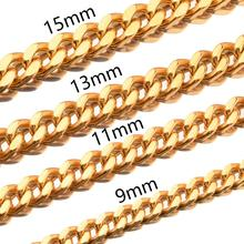Fashion Brand New Trendy Men Gold Tone Stainless Steel High Polished Curb Cuban Necklace Chain width 9/11/13/15mm