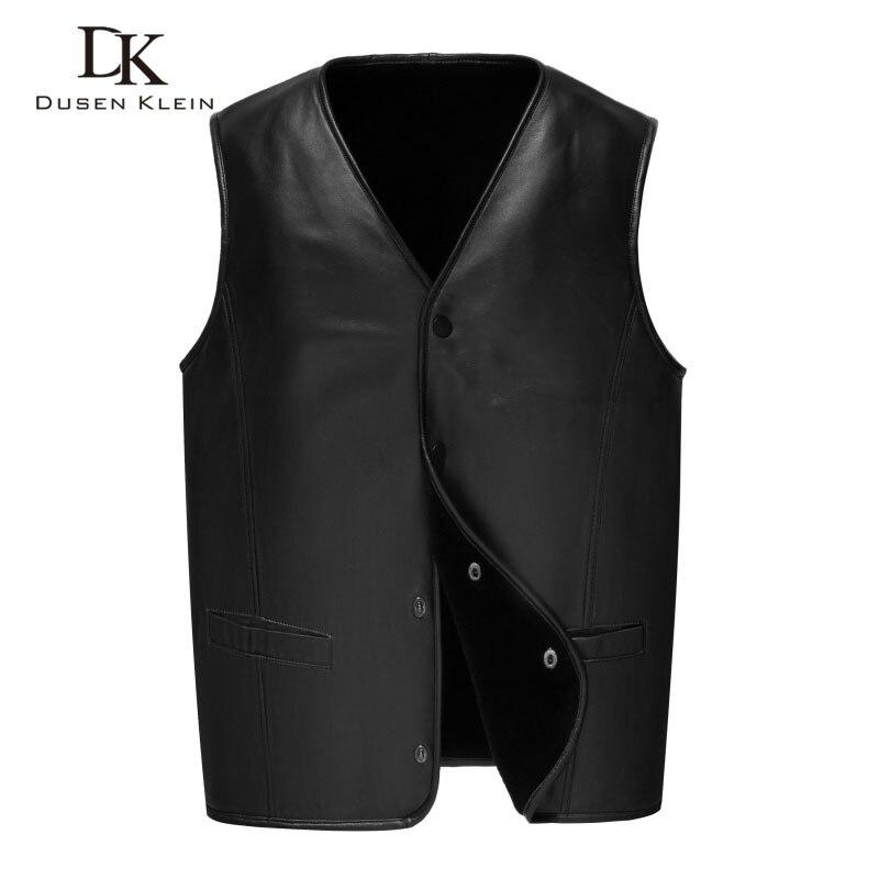 Для мужчин из натуральной кожи жилеты зимние теплые кожаные шерстяная подкладка овчина черный 2018 Новые короткие Z1807