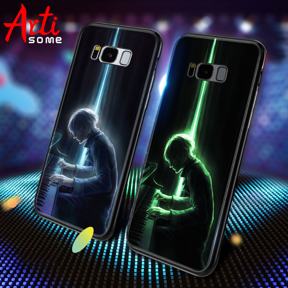 Luxury Luminous Case For Samsung Galaxy S8 S8 Plus Case Tempered Glass Back Cover Case For Samsung Galaxy S9 S9 Plus Note 9 Case