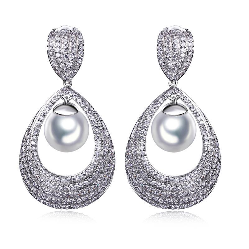 Large Earrings Luxury Platinum Plating Famous Design Pearl For Women Cubic Zirconia Latest Fashion Bohemian Jewelry In Drop From