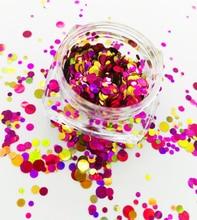 Nail Art Chunky *SalSa* Red Gold Dots Circles Shape Glitter Spangles Mix Pot 1/2/3 mm for Gel Acrylic #11