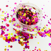 Mix-Pot Glitter Nail-Art Gold for Gel Acrylic -11 Chunky--Salsa--Red Dots Circles-Shape