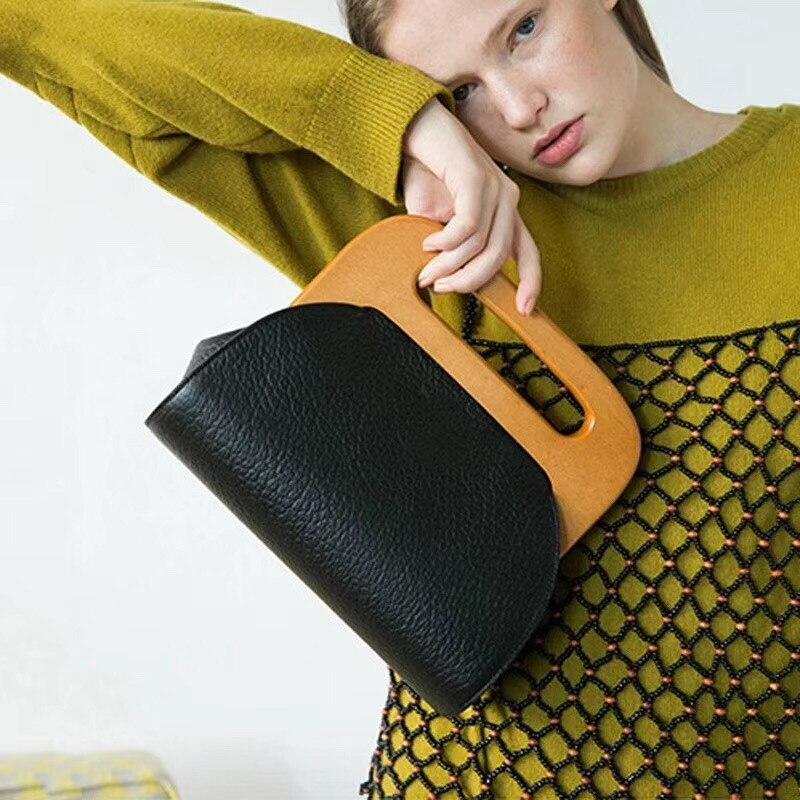 Frauen Holz Griff Handtasche Holz Clip Casual Schulter Tasche Diagonal Solide Farbe Vintage Tasche Umhängetasche Waren Jeder Beschreibung Sind VerfüGbar