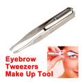 Stainless Steel Make Up Tool LED Light Eyelash Eyebrow Hair Removal Tweezer HB88