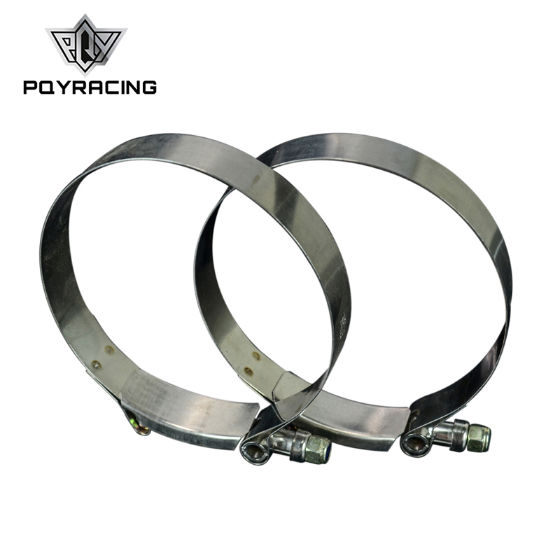 PQY - (2PC/LOT) 4 CLAMPS (105-113)STAINLESS 304 SILICONE TURBO HOSE COUPLER T BOLT CLAMP KIT HIGH QUALITY PQY5258