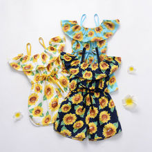 Toddler Kids Baby Girl Sunflower Romper Off Shoulder Belt Bow Princess Girls Jumpsuit Playsuit Sunsuit Clothes newborn baby girls princess romper toddler kids long sleeves jumpsuit clothes children cotton lace playsuit pink yellow clothing