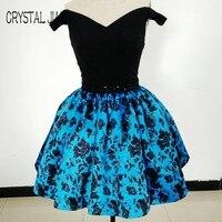 CRYSTAL JIANG 2017 Real Sample Off the Shoulder Black Spandex Waist Beaded Floral Print Short Skirt Cheap Homecoming Dresses