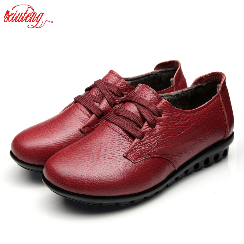 2018 Autumn Women Boots Women Genuine Leather Winter Boots Women Platform Flat Platform Casual Shoes Creepers