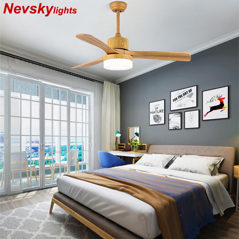 Wooden Fans Lamp led For Living Room 220V Ceiling Fans With Lights 48 Inch Blades Cooling Fan Remote ventilador de techo