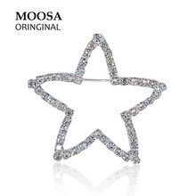 MOOSA Trendy Star Brooches Gifts for Women Girls Fashion Jewelry Handmade with Shiny Rhinestone Broches Hijab Pins