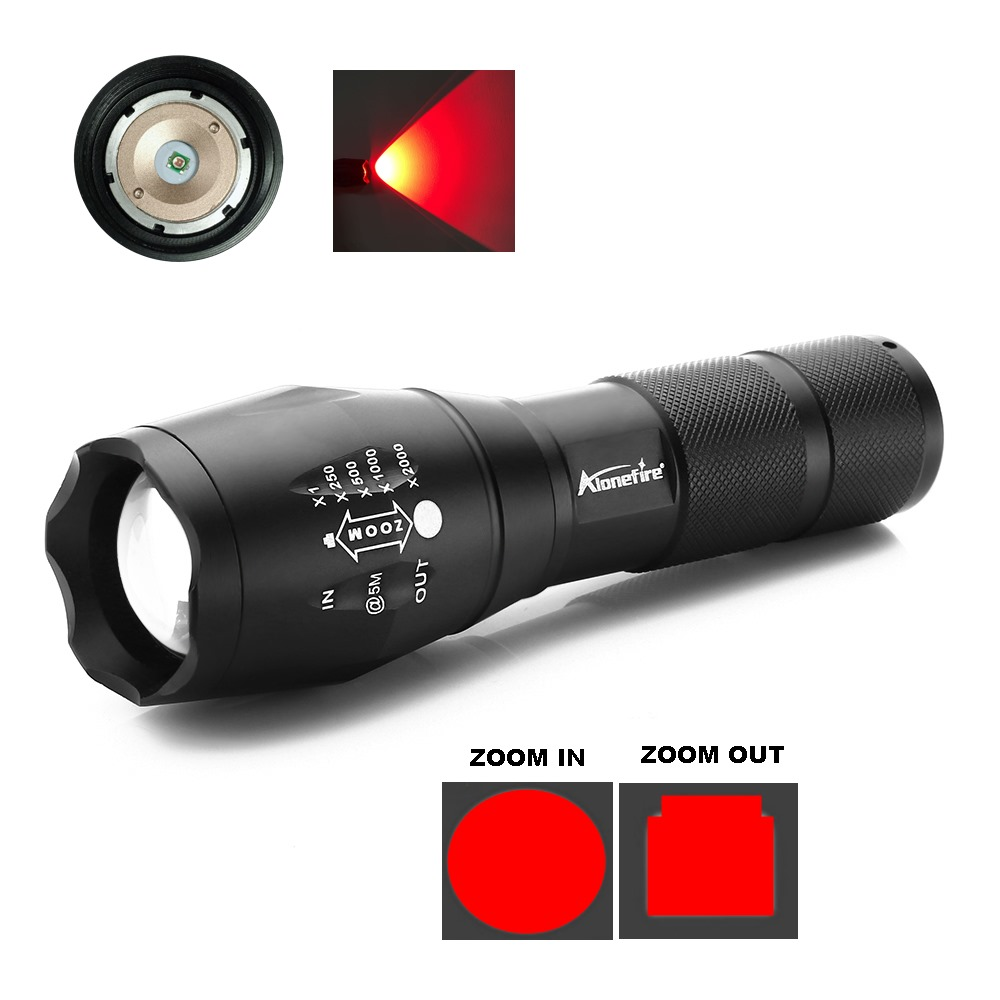 AloneFire E17 Portable Ultra Bright Handheld red light LED Flashlight Zoomable Adjustable Focus Outdoor Water Resistant Torch