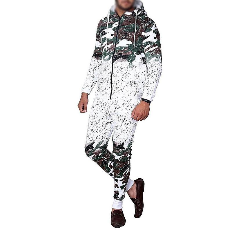 Autumn Men Two Pieces Set Casual Work Wear Cardigan Hooded Sweatshirt Pants Suit Fashion Camouflage Print Male Hombre Tracksuit