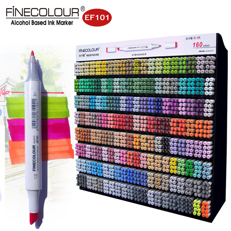 Finecolour 160 Dual Art Marker Drawing Comic Manga Graffiti Pens EF101 Set Double Line Alcohol Based Sketch Markers for Render finecolour ef101 alcohol based art sketch twin marker brush non toxic markers for school supplies 24 36 48 72 color set in bag