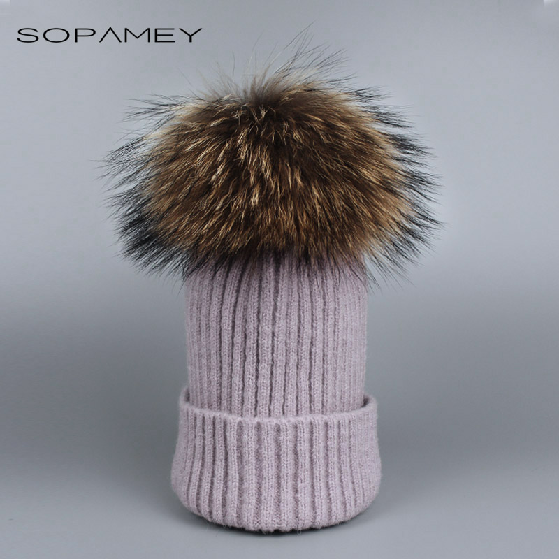 Real Mink pom poms Wool Rabbit Fur Knitted Hat Skullies Winter Cap for Women Girls Hats Feminino Beanies Brand Hats Bones skullies beanies mink mink wool hat hat lady warm winter knight peaked cap cap peaked cap
