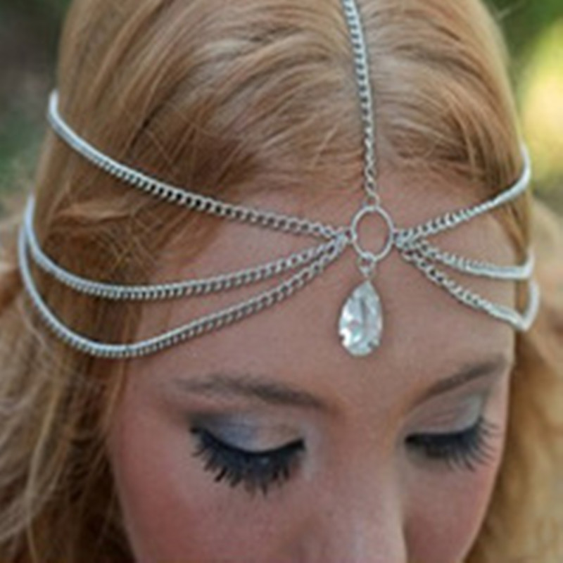 Summer style wholesale silver crystal teardrop crown jewelry hair band hair accessories headdress head chain modeling tools