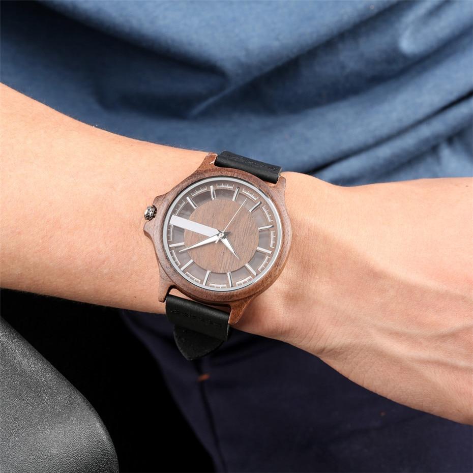 Image 5 - Transparent Hollow Dial Coffee/Brown/Black Wood Watches Quartz Timepiece Genuine Leather Watchband Creative Mens Watch New 2019Quartz Watches   -
