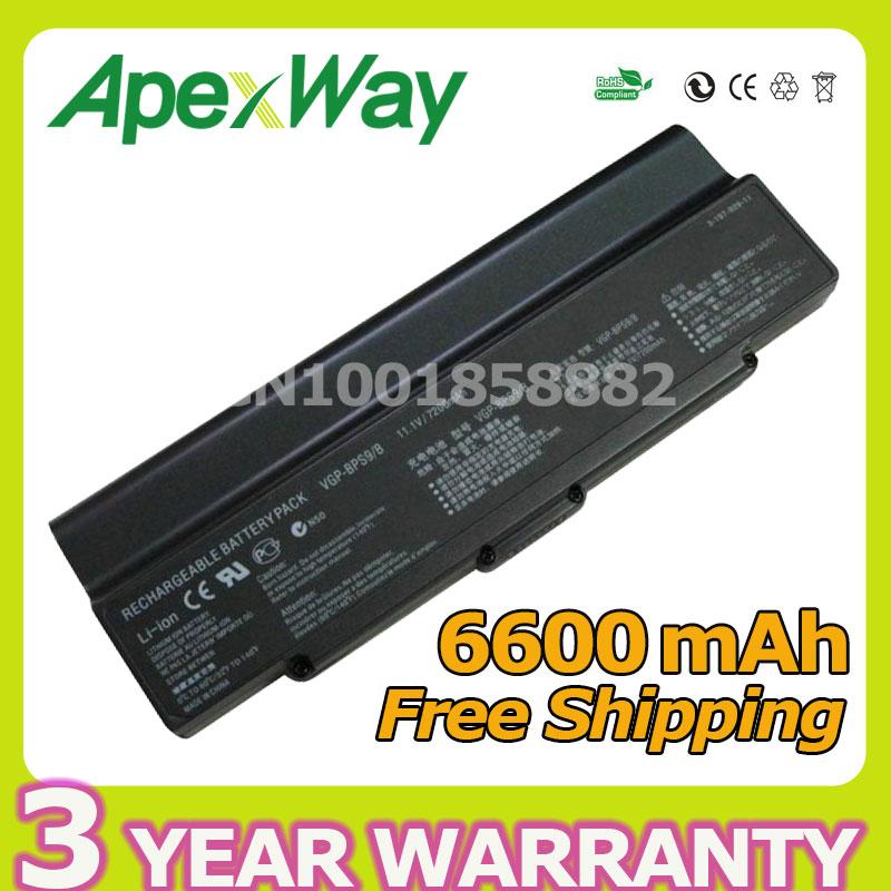Apexway Black 9cell 6600mAh Battery VGP BPS9 BPS10 BPL9 BPL10 VGP-BPS9/S For Sony VAIO VGN-AR71J VGN-CR13/B VGN-CR20 VGN-CR90S laptop battery for sony vaio pcg vgn ar vgn cr vgn nr vgn sz series pn vgp bps9 vgp bps9a b vgp bpl9 black