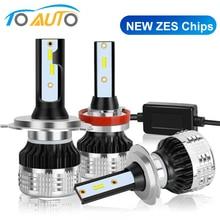 2 adet araba ışıkları LED H1 H3 H4 H7 H8 H11 HB3 9005 HB4 9006 H27 880 881 9012 LED ampul ZES cips ile 15000LM 6000K otomatik lamba 12V