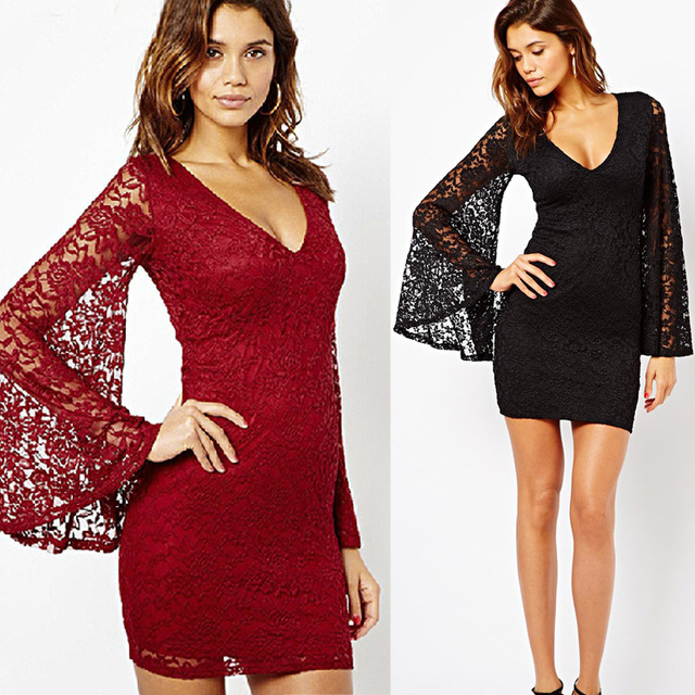 Sexy New Lace Plunge V Neck Spring Dress With Long Flare Sleeve Bodycon Stretch  Nightclub /Party