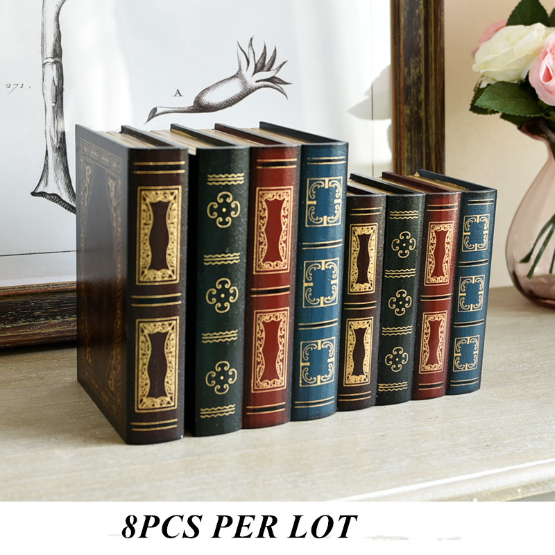 10 Sets(10L+10S) Retro storage box props wooden fake-books home office decoration model  ...