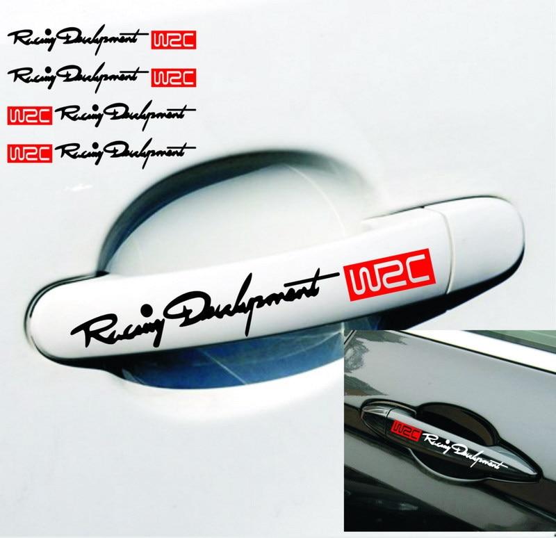 4PCS Car Styling Fashion WRC World Racing Development Creative Car Door Handle Decals Dual Color Design Stickers Vinyls Decals