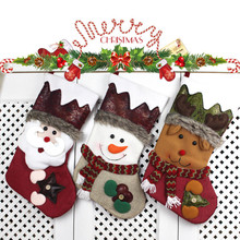 HAOCHU 1Pc Christmas Stockings Gift Candy Bags Socks Ornaments Xmas Pendant New Year Home Supermarket Store Shop Decoration