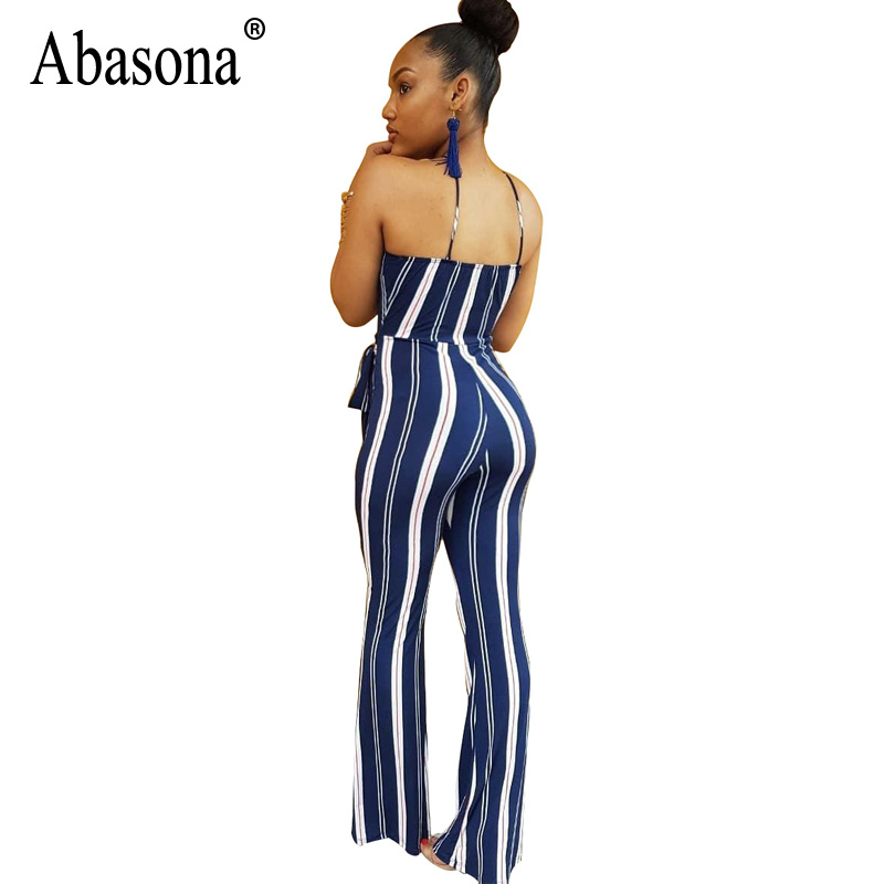 6d43856807 Aliexpress.com   Buy Abasona Wide Leg Sexy Jumpsuits Summer Sleeveless  Backless Beach Overalls Bodysuit Casual Strip Rompers Womens Jumpsuit  Female from ...