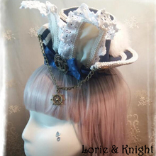 Lovely Navy Style Rabbit Ear & Bow Lolita Cosplay Mini Top Hat for Girls NAVY BLUE