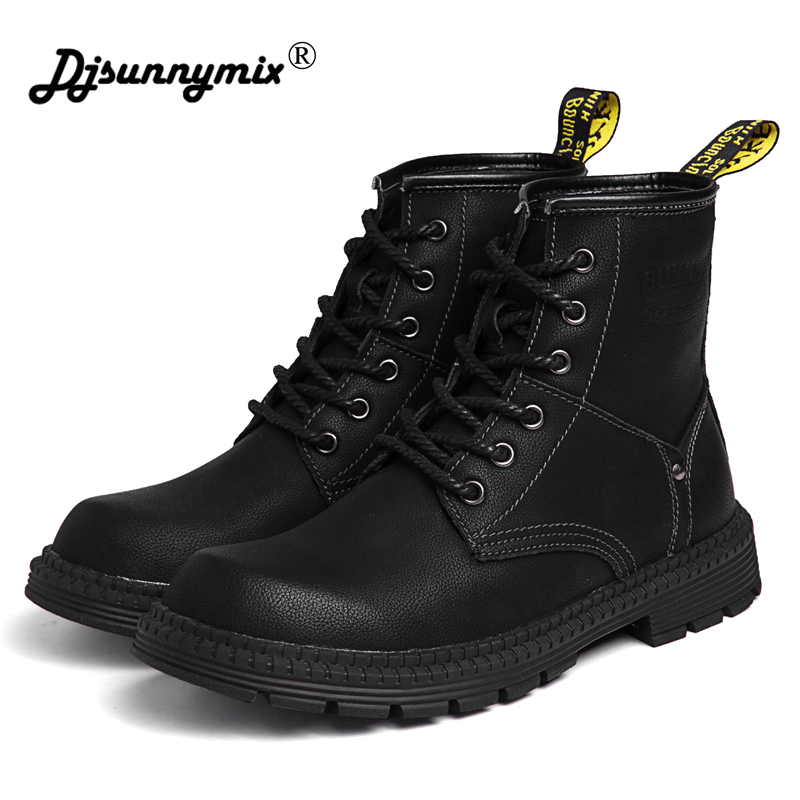 Black Genuine Leather Men Ankle Boots Winter High Top Men Snow Boots Keep Warm Flats Boots Men Winter Shoes Big Size 39-47 big size 38 47 men boots genuine leather winter boots shoes men warm furry boots men fashion ankle snow boots for men hh 049