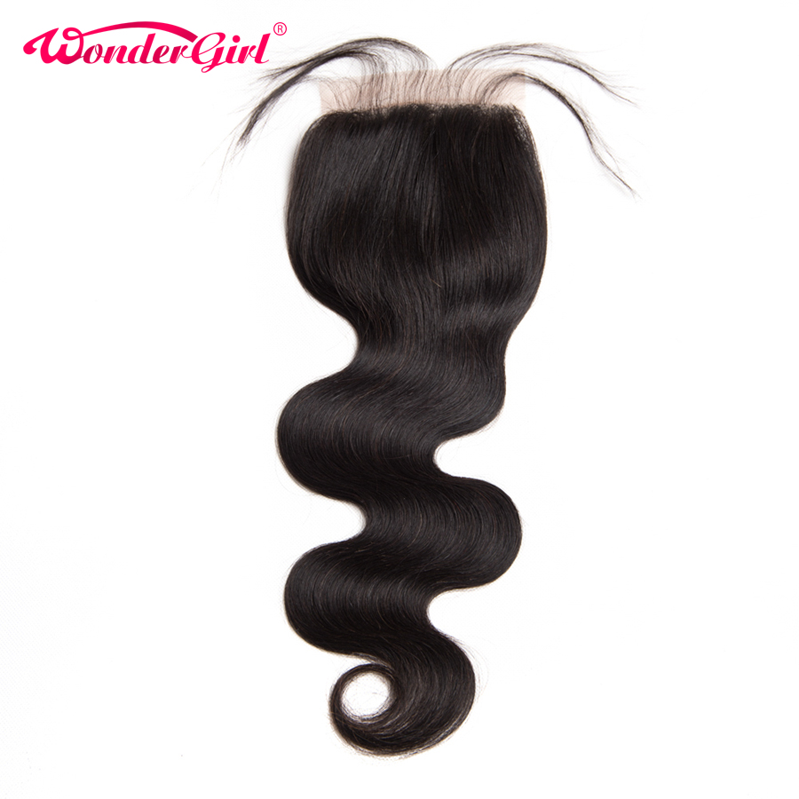 Three/Middle/Free Part Wonder girl Malaysian Body Wave Lace Closure With Baby Hair Remy 4X4 Lace Closure 10 24 Natural Color
