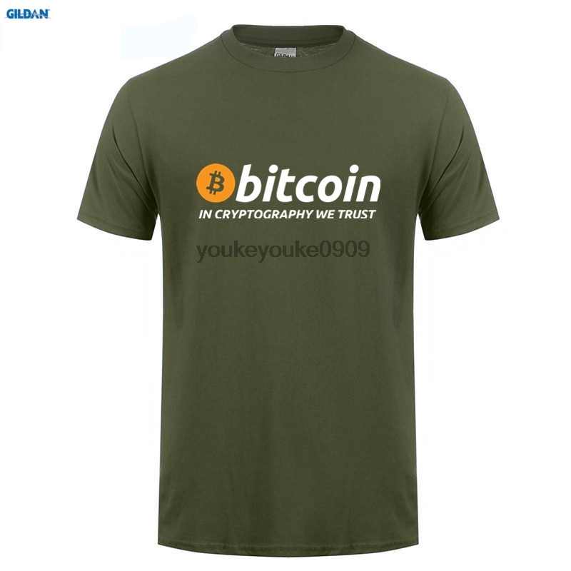 GILDAN T Shirts Bitcoin In Cryptography We Trust Mens Round Collar Short Sleeve Shopping T-Shirt New Men Funky Tee Shirts