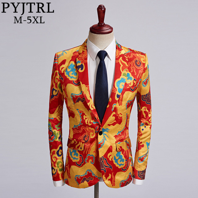 PYJTRL Tide Men Chinese Style Red Gold Dragon Design Casual Suit Jacket Plus Size Singer Costume Wedding Groom Prom Party Blazer