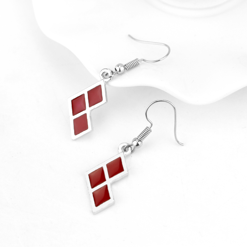 movie seriees Suicide Squad Charm earring red enamel Fashion High Quality jewelry For Women Girls Delicate Gift