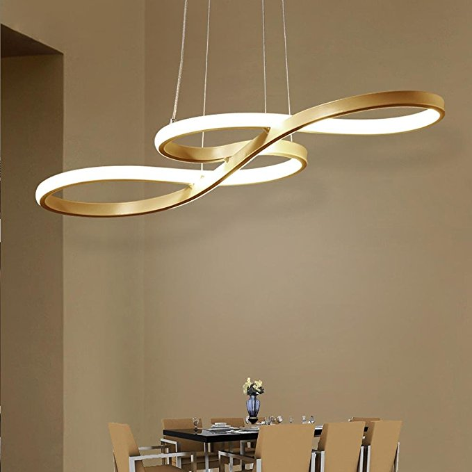 Dimmable Remote Control Modern LED Pendant Geometric Bent Design Acrylic Chandelier Minimalist Ceiling Living Room